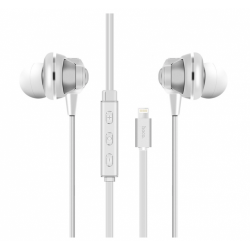 HOCO L1 Iphone 7 Lightning Jack Earphone - Wired with Volume Control Compatible for All Lightning Connection Interface. (White)