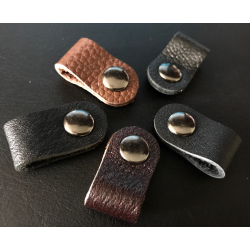 Plain Leather Cable Organiser (Button Fastening)