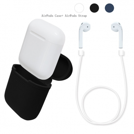 For Apple Airpods: Silicone Protective Cover and/or Strap